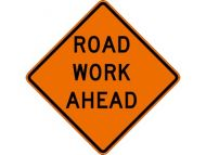 "Dicke Safety Products 48"" Superbright Reflective Orange Roll-Up Sign - ""Road Work Ahead"""
