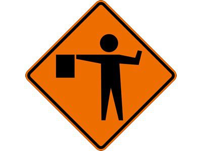 "Dicke Safety Products 48"" Superbright Reflective Orange Roll-Up Sign - Flagger Symbol"